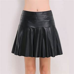 Leather Black Womens Leather Casual Short Skirt Pleated Skirt Solid Mini Skirt For Summer Autumn ...