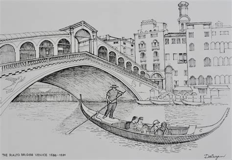 How To Draw A Gondola Boat by Bridge Water Drawing Pencil And In Color