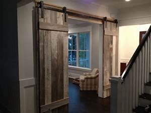 reclaimed barn wood doors contemporary hall With barnwood door ideas