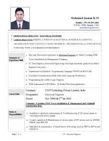 Sle Objective Of Resume For Freshers by Electrical Engineer Fresher Resume Sle 100 Images Exles Of Resumes Sle Resume Sle