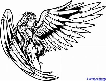 Angel Outline Drawing Fallen Clipart Clipartmag
