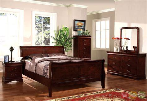louis philippe ii cherry sleigh bedroom set w antique