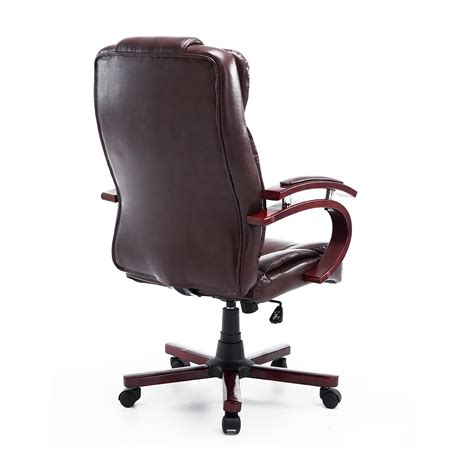 home goods desk chairs homcom pu leather executive office chair w wood brown