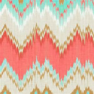 Ikat Chevron in Mint, Gold and Coral Pink fabric by ...