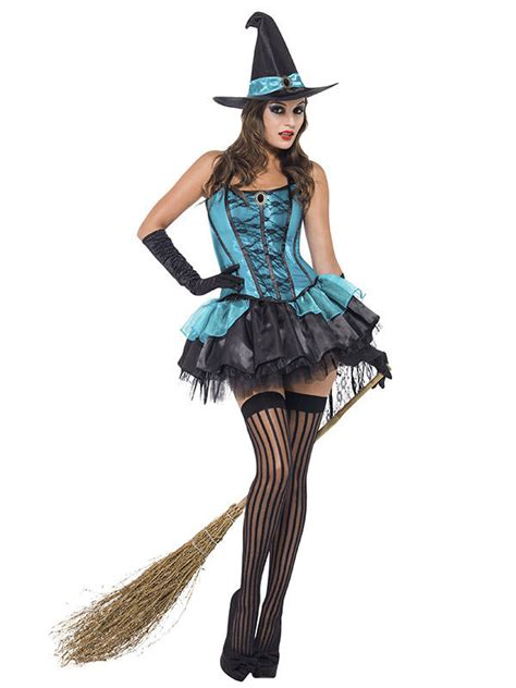 sexy hexe halloween damenkostuem tuerkis schwarz guenstige faschings kostueme bei karneval megastore