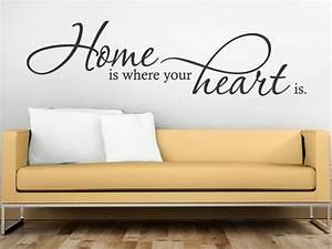 Wandtattoo Für Wohnzimmer : wandtattoo home is where your heart is bei ~ Buech-reservation.com Haus und Dekorationen