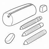 Pencil Clip Plastic Trousse Illustrations Clipart Ecolier Vecteur Ensemble Vectorreeks Graphisme Gemengde Dieren Geplaatst Tekeningsillustratie Illustratie sketch template
