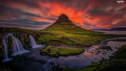 Iceland Waterfall Kirkjufell Sunsets Mountain Views Wallpapers