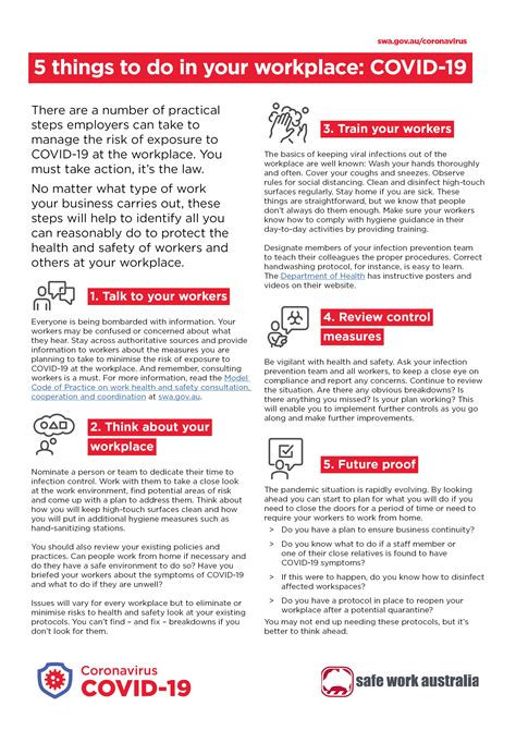 5 things to do in your workplace: COVID-19 - Infographic ...