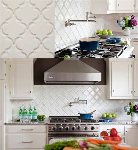 white tile backsplash beveled arabesque tile homesfeed