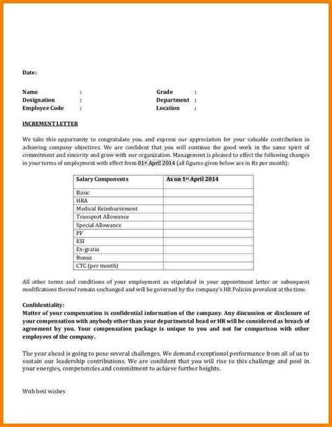 salary increase letter format employee sales slip