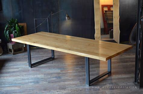 table cuisine chene table haute en bois métal de style industriel micheli design