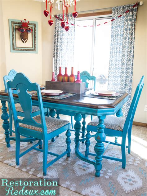 turquoise dining table daily dose  style