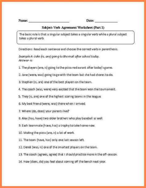 worksheet subject verb agreement grade 4 8 subject verb agreement worksheets 4th grade purchase