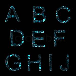 alphabetset of broken into pieces glass letters isolated With glass letters