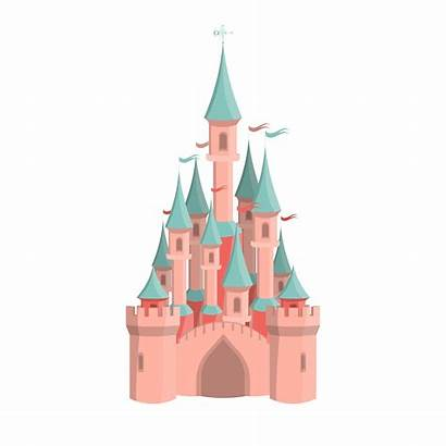 Castle Cartoon Pink Park Amusement Icon Isolated