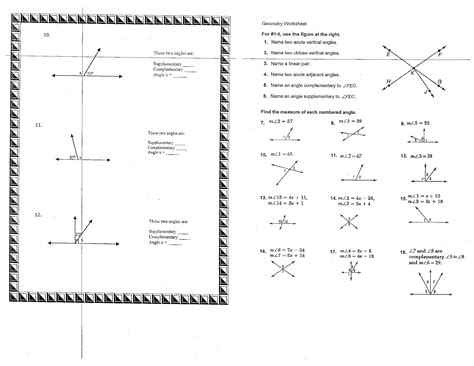 math angle worksheets with answers geometry worksheets