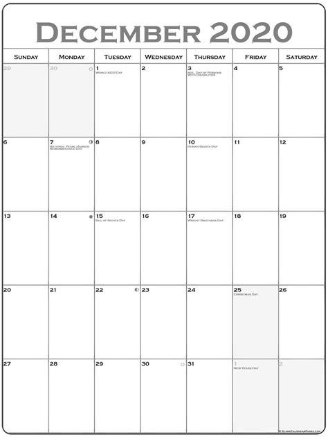 december  vertical calendar portrait