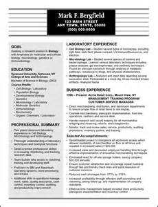 entry level biology resume objectives resume sle for a sales manager with a degree in biology