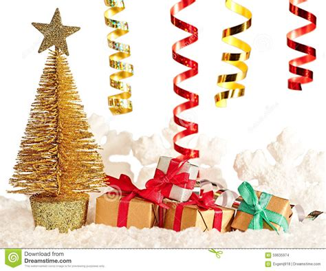 new year 2016 christmas tree presents stock photo