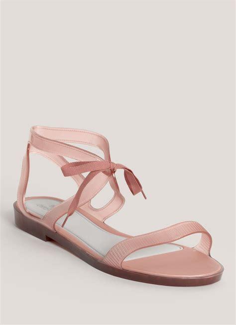 lyst melissa artemis flat sandals  pink