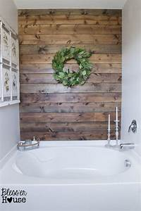 hometalk diy rustic bathroom plank wall With what kind of paint to use on kitchen cabinets for metal bathtub wall art