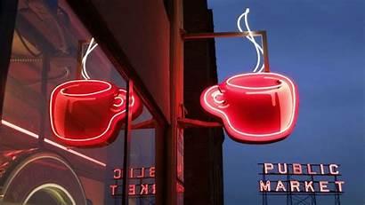 Neon Coffee Seattle Market Signs Pikes Washington
