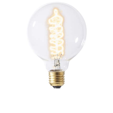 vintage light bulb large globe spiral filament