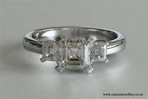 three stone asscher cut diamond engagement ring new zealand