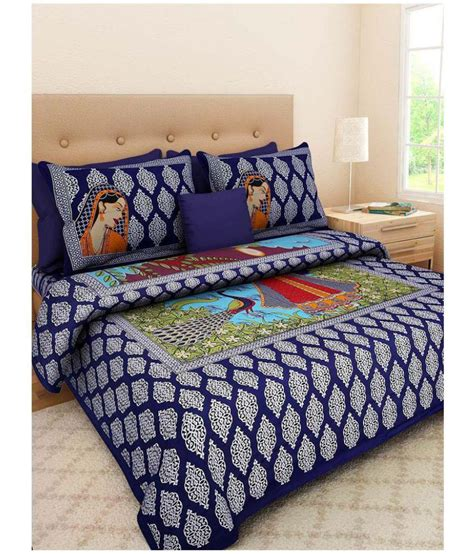 Cotton Bed Sheets by Jaipuri Bedsheet Cotton Multicolor Bed Sheet Buy
