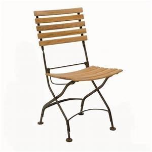 Chaise Fer Forgé Et Bois : chaise pliante en fer forg et teck fsc lot de 2 ~ Dailycaller-alerts.com Idées de Décoration