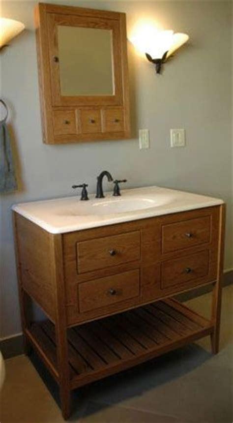 handmade white oak stained bathroom vanity open style