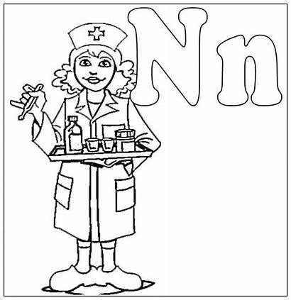 Nurse Coloring Pages Drawing Male Nurses Colouring