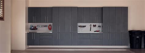 garage storage cabinets matte metallic wood