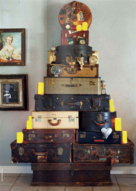 christmas tree   vintage suitcases interiors  color