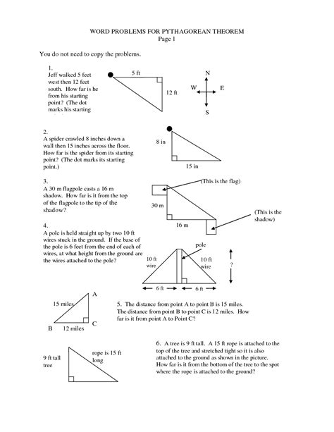 images  pythagorean theorem word problems