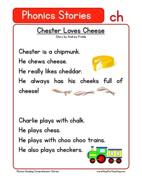 reading comprehension worksheet chester loves cheese