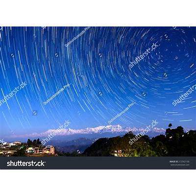 Star Trails Over Bandipur Village And The Himalayas Nepal