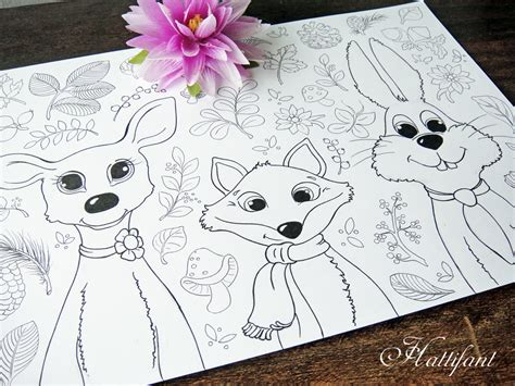 woodland animals coloring pages  grown ups kids red ted art