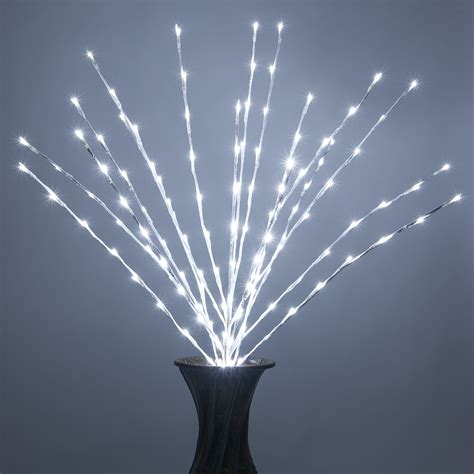 white lighted branches  cool white led lights  pc