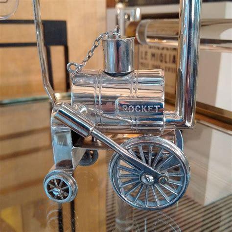 novelty stephensons rocket locomotive silver plated brandy warmer   stdibs