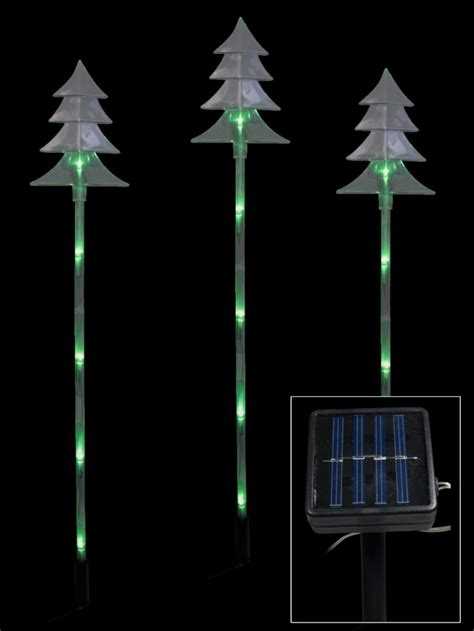6 green led tree solar stake light 66cm