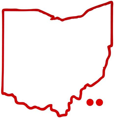 Ohio Outline Hometown Dot Sticker | Red | BOP – Be Ohio Proud