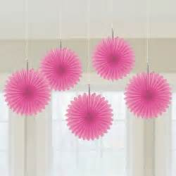 hanging decorations mini fans bright pink 5 wholesale party supplies and bulk party