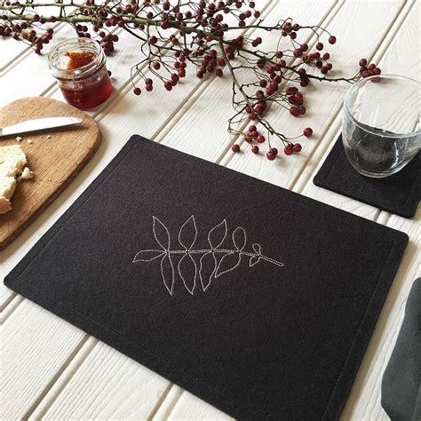 felt table mats wool felt leaf table mats by goldborough