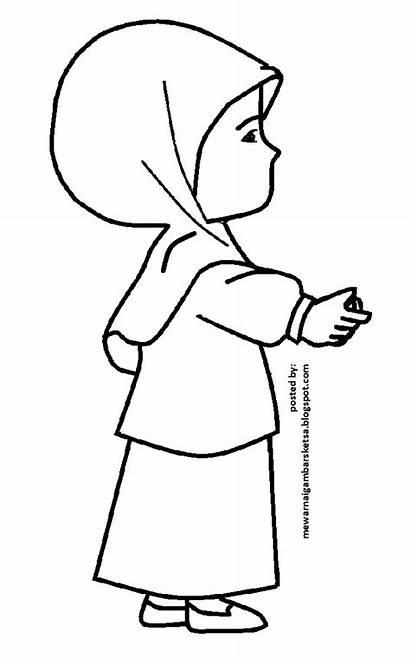 Mewarnai Gambar Kartun Muslimah Sketsa Cantik Gadis