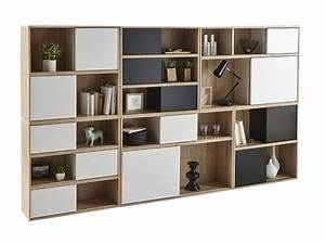 Rangement 6 Cases : rangement 6 cases 3 portes slide chene blanc ~ Teatrodelosmanantiales.com Idées de Décoration