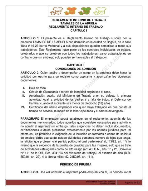 Ministero De Interno by Reglamento Interno De Trabajo Tamales De La Abuela 1 By
