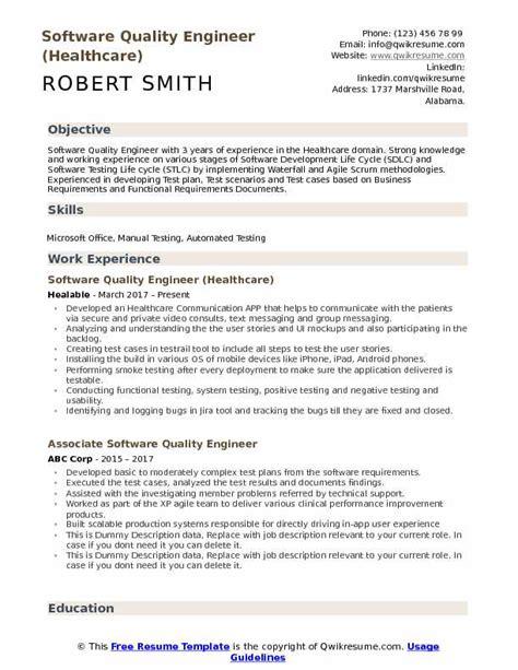 software quality engineer resume sles qwikresume