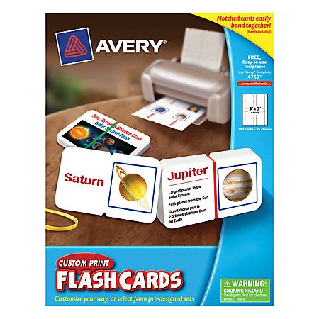 Avery Custom Print Flash Cards Punched Avery 174 Custom Print Flash Cards Notched 3 Quot X 5 Quot White